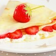 Pancakes with cottage cheese and strawberries — Stock Photo #47708097
