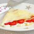 Pancakes with cottage cheese and strawberries — Stock Photo #47708111