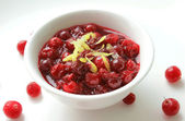 Cranberry sauce with lemon zest — Stock Photo