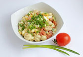Chicken salad with vegetables, mushrooms and mayo — Stock Photo
