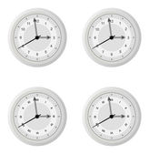 Clock dial in four variants with different design details — Stock Vector