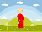Calm buddhist monk — Stock Vector