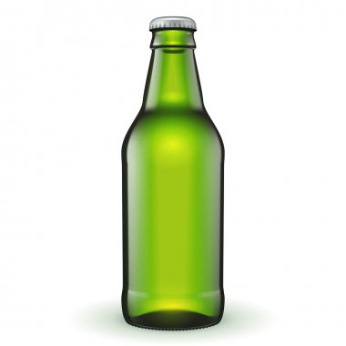Short Glass Beer Green Bottle On White Background
