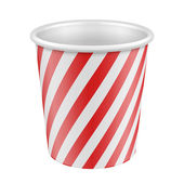 White Red Disposable Paper Cup. Container For Coffee, Java — Stock Vector