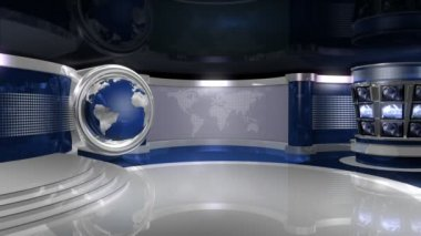 Blue Virtual News Studio With Globe Animation — Stock Video