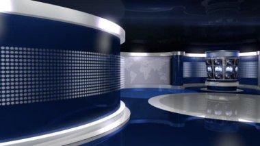 Blue Virtual News Studio — Stock Video