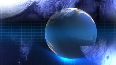Blue Rotating Globe — Stockvideo
