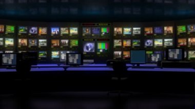 Virtual TV studio with monitor wall — Stock Video