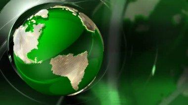 Rotating Green Earth Globe — Stock Video