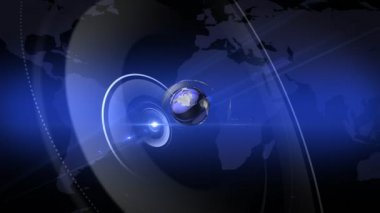 Blue News Intro with a rotating Globe — Stock Video