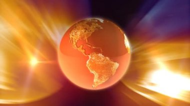Orange Rotating Globe — Stockvideo