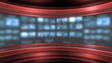 Red virtual studio background — Stock Video