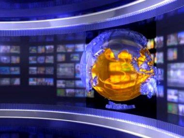 Virtual news studio with globe — Stock Video