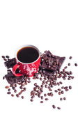 Coffe with chocolate and coffe beans — Stock Photo