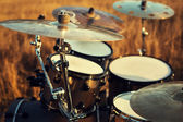 Close up thin crash on a drum set — Stock Photo