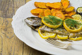 Grilled trout with vegetables — Foto de Stock