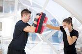 Couple exercise — Stock Photo