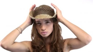 Woman plays with her hat — Stock Video