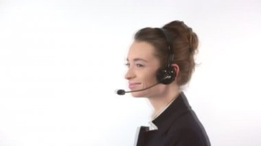Support woman talking with a headset — Vídeo de Stock