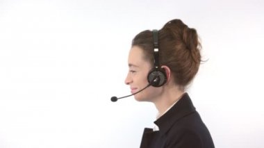 Support woman with headset — Stock Video