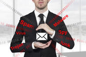 Businessman protecting mail from spam — Stock Photo