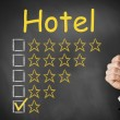 Thumbs up chalkboard hotel rating one star — Stock Photo #51177869