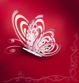 Paper butterfly on a beautiful background with a pattern — Vetor de Stock