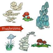 Mushrooms Set — Stock Vector