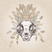Cat Skull Vintage Aged Flower — Stock Vector