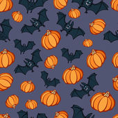 Halloween Pumpkin Bat Party Pattern — Stock Vector