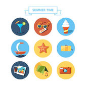 Summertime icons set. Flat design. — Stock Vector