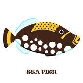 Sea Fish color vector illustration. — Stock Vector