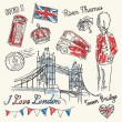 I Love London icons doodle set — Stock Vector #47617583