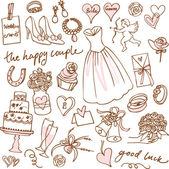 Set of beautiful wedding doodle vectors — Stok Vektör