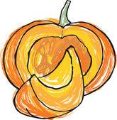 Whole & sliced pumpkins — Stock Vector