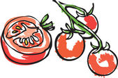 Cut tomato with tomatoes on the vine — Vettoriale Stock