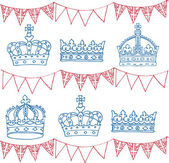Crowns and bunting — Stock Vector