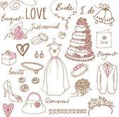 Wedding doodles sketchy — Stock vektor