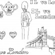 London icons doodle set — Stock Vector