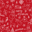 Christmas doodles icons & words seamless — Stock Vector #47901705