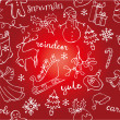 Christmas doodles icons & words seamless — Stock Vector #47901733
