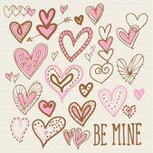Doodles καρδιά — Διανυσματικό Αρχείο