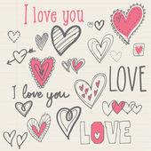 Hart ik hou van je — Stockvector