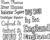 London typography background — Stock Vector