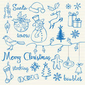 Christmas icons doodles — Stock Vector