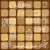 Sketchy coffee icons and words — Stock Vector