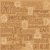 Coffee icons and words — Stock Vector