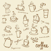 Coffee doodles icons — Stock Vector