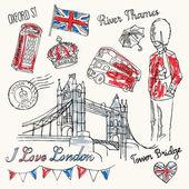 I love London icons — Stock Vector