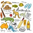 Collection of Australia doodle — Stockvektor